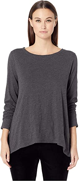 Slubby Organic Cotton Jersey Melange Ballet Neck Top