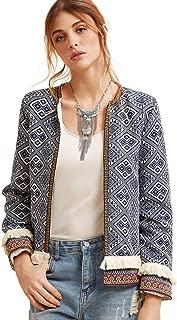 Women's Contrast Pearl Beading Braided Tape Frayed Trim Tweed Blazer
