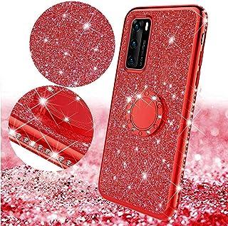 Funda Compatible con Huawei P40 Carcasa Case Brillante Purpurina Glitter Bling Diamante con Anillo Soporte TPU Silicona Ge...