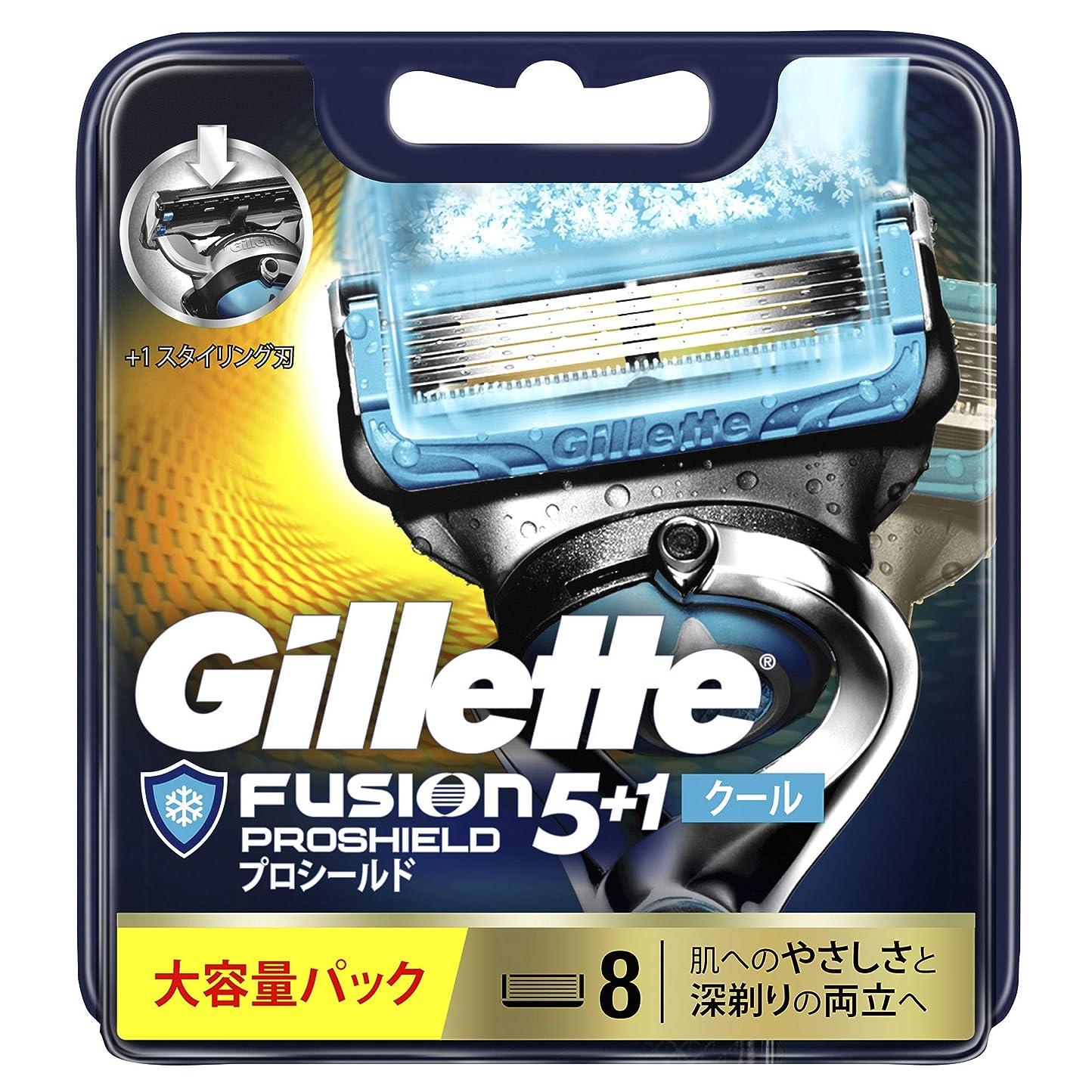 超高層ビルエイリアス最大ジレット 髭剃り フュージョン5+1 プロシールド クール 替刃 8個入