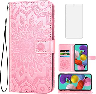 Phone Case for Samsung Galaxy A71 4G Wallet Cases with Tempered Glass Screen Protector and Leather Flip Cover Card Holder ...