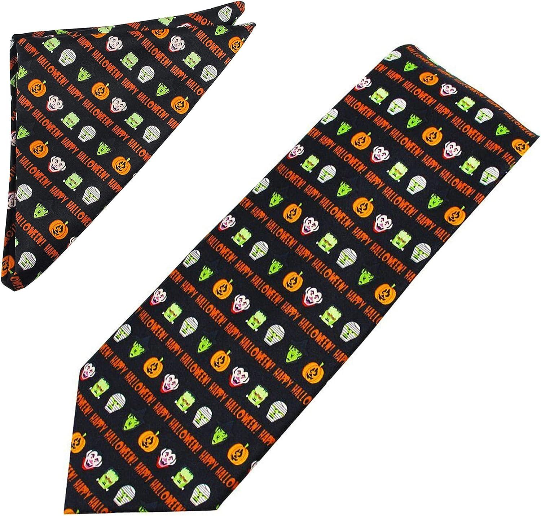 2 Piece Set: Jacob Alexander Men's Happy Halloween Monsters Extra Long Neck Tie and Pocket Square
