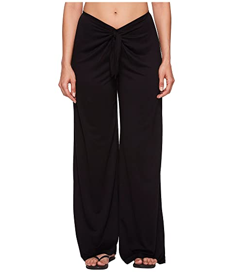 Frenchie Solids Tie Front Pant Cover-Up, Black