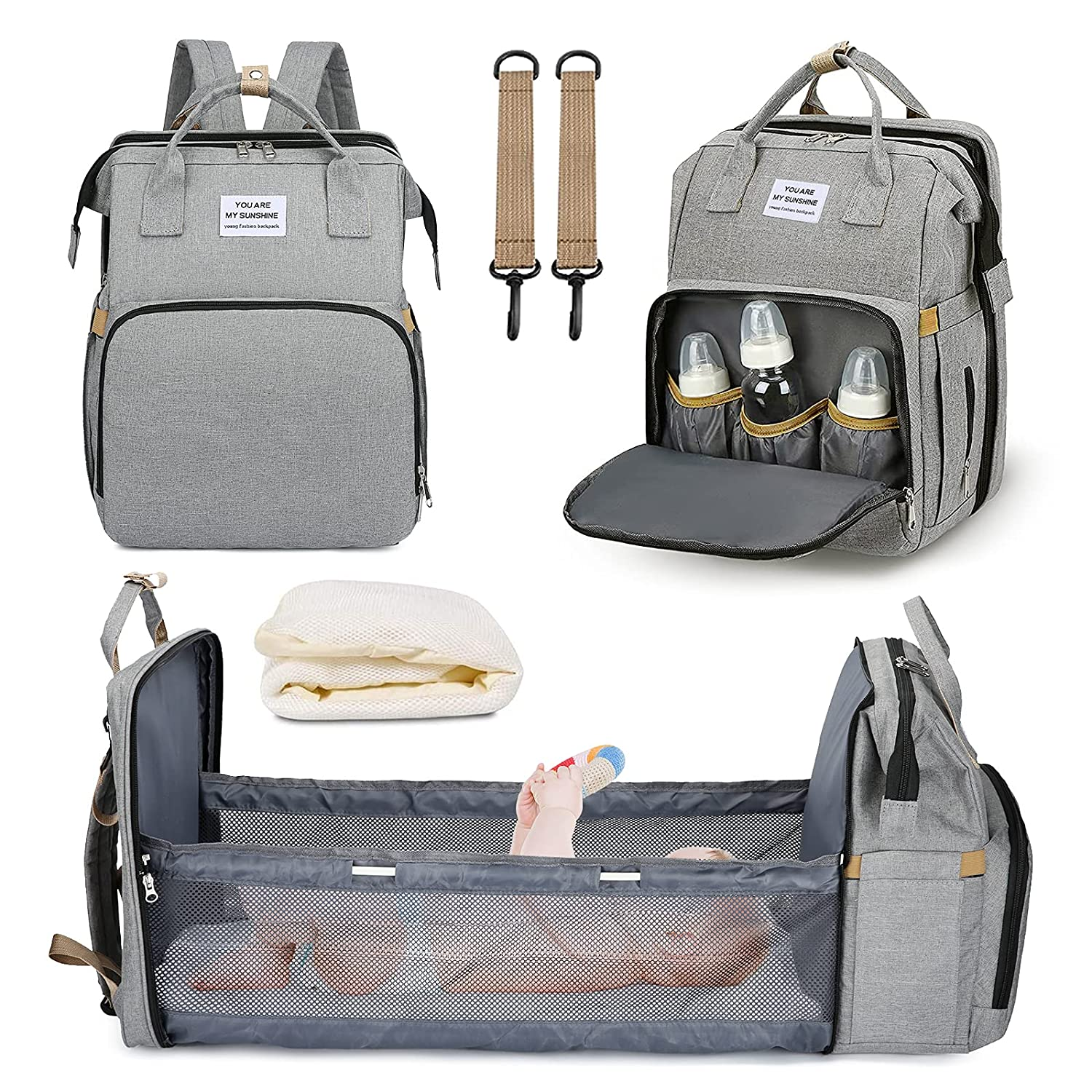 Lifecolor Diaper Bag Nappy Bags Waterproof Travel Backpack Mom Baby Care(Gray)