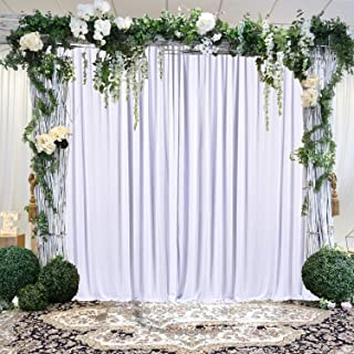 White Backdrop Curtain for Parties Photo Backdrop Wedding Baby Shower Photography Background with Gold Curtain Tiebacks 5ft x 10ft Pack of Two