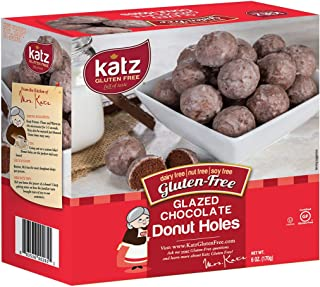 Katz Gluten Free Glazed Chocolate Donut Holes | Dairy Free, Nut Free, Soy Free, Gluten Free | Kosher (6 Packs, 6 Ounce Each)