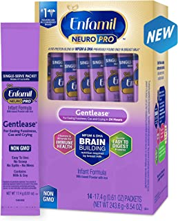 Enfamil NeuroPro Gentlease Baby Formula Gentle Milk Powder, 14 single serve packets (17.4 gram each) - MFGM, Omega 3 DHA, Probiotics, Iron & Immune Support