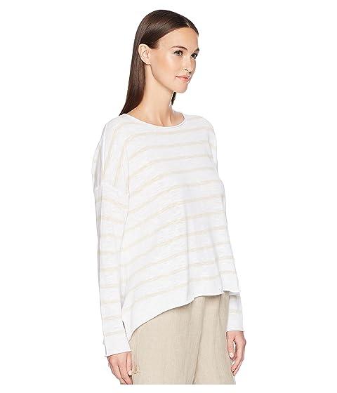 suéter blanco Stripe lino y Fisher natural Eileen algodón orgánico nYwq0x5F