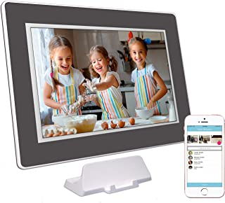 PhotoSpring (32GB) 10-inch WiFi Cloud Digital Picture Frame - Battery, Touch-Screen, Plays Video and Photo Slideshows, HD IPS Display, iPhone & Android app (White/Black Mat - 32,000 Photos)