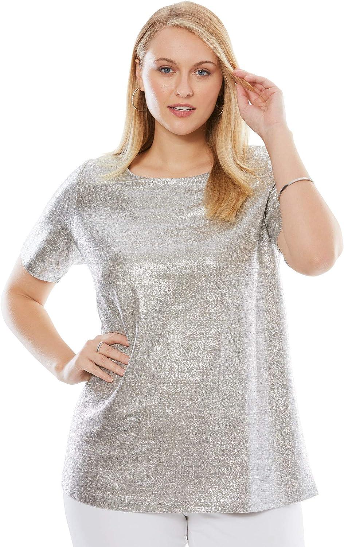 Jessica London Women's Plus Size Metallic Tee Sparkle Short-Sleeve T-Shirt