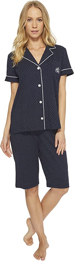 LAUREN Ralph Lauren Short Sleeve Notch Collar Bermuda PJ Set