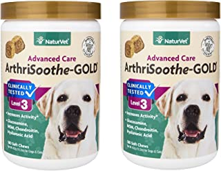 360-Count NaturVet Clinically Tested ArthriSoothe-GOLD Level 3 Advanced Joint Care Soft Chews for Dogs and Cats (2 Jars with 180 Chews Each)