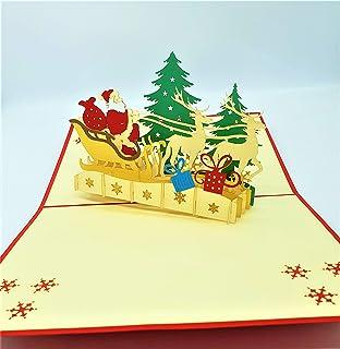 BC Worldwide Ltd Biglietto di Natale pop-up 3D fatto a mano Buon Natale Babbo Natale renna fiocchi di neve albero consegna...
