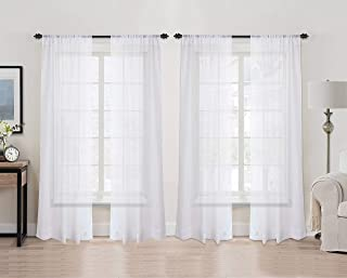 Utopia Bedding Premium White Sheer Curtains - Sheer Voile - White Luxurious - High Thread Window Curtains - 54 by 84 Inches - [4 Panel Set]