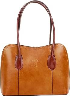 Italian Smooth Leather Hand Made Classic Long Handled Handbag Tote Grab Shoulder Bag
