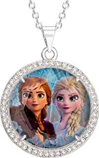 Disney Frozen 2 Sisters Elsa and Anna Fine Silver Plated Crystal Shaker Pendant Necklace, 16 + 2