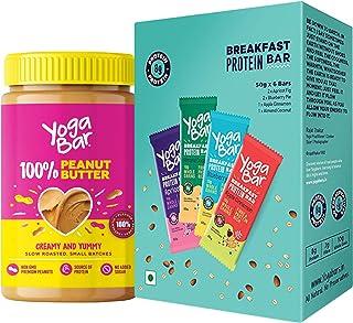 Yogabar Pure Peanut Butter and Breakfast Bars Combo | Pure Peanut Butter | Breakfast Protein Variety (Almond Coconut, Apri...