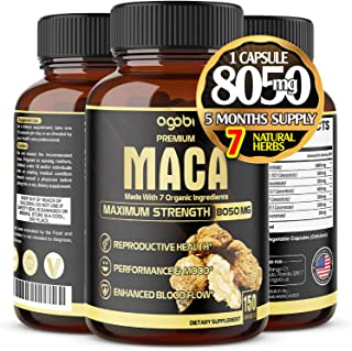 Organic Maca Root Capsules 8050 mg - Supports Reproductive Health Natural Energizer - Performance & Mood Supplement - Enha...