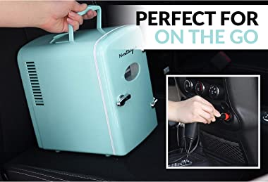 Nostalgia RF6RRAQ Retro 6-Can Personal Cooling and Heating Mini Refrigerator with Carry Handle for Home Office, Car, Boat or