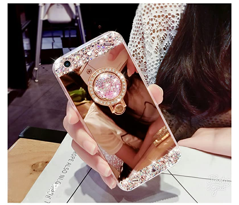 iPhone 6 Plus Case, iPhone 6s Plus Case - crystal_phonecase Mirror Face 360 Ring Holder Stand Rhinestone Diamond Bling Clear Soft Case Cover Apple iPhone 6/6s Plus (Rose Gold)