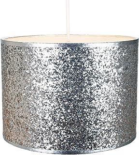 Colgante/lámpara de tela de brillo plateado brillante moderno y moderno de 25 cm de ancho por Happy Homewares