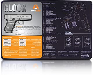 Ironclad Glock Gun Cleaning Mat - 3mm Neoprene - 17 x 11 Inches Waterproof - Oil Resistant - Hand Gun Cleaning Mat - Detailed Diagram and Assembly Instruction - 9mm Gun Cleaning Mat - Perfect for Hand