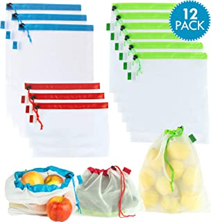 Mesh Reusable Produce Bags, 12 Pack, Small, Medium, Large Sizes, Natural BPA Free Nylon, Shop and Store Vegetables, Fruits, Fresh Foods, Tare Weight Scannable Tags, Easy To Carry & Store