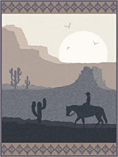 IBENA Grey/Beige Southwestern Jacquard Woven Throw Blanket 'Lone Ride Through The Desert'