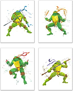 Ninja Turtles Watercolor Wall Art Decor - Set of 4 Prints (8x10) - Poster Photos - Michaelangelo, Leonardo, Donatello, Raphael
