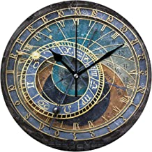 LORVIES Prague Astronomical Clock Wall Clock Silent Non Ticking Acrylic Decorative 10 Inch Round Clock for Home Office School