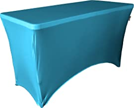 LA Linen Spandex Table Cloth for a 4-Feet Rectangular Table, 48 by 30 by 30-Inch, Turquoise