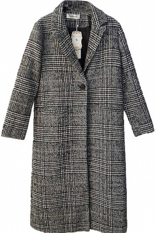 DEED Women's CoatAutumn Women 'S Lattice Coat Winter Body was Thin and Long Section of Thick CocoonType Lattice Woolen Coat