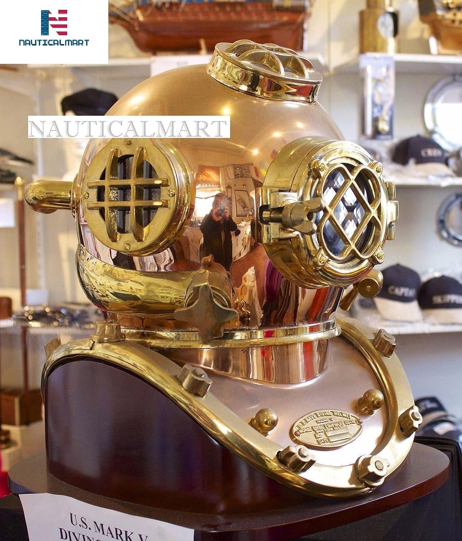 NAUTICALMART Antique Diving Divers Helmet Us Navy Mark V Helmet Solid Copper & Brass with Base
