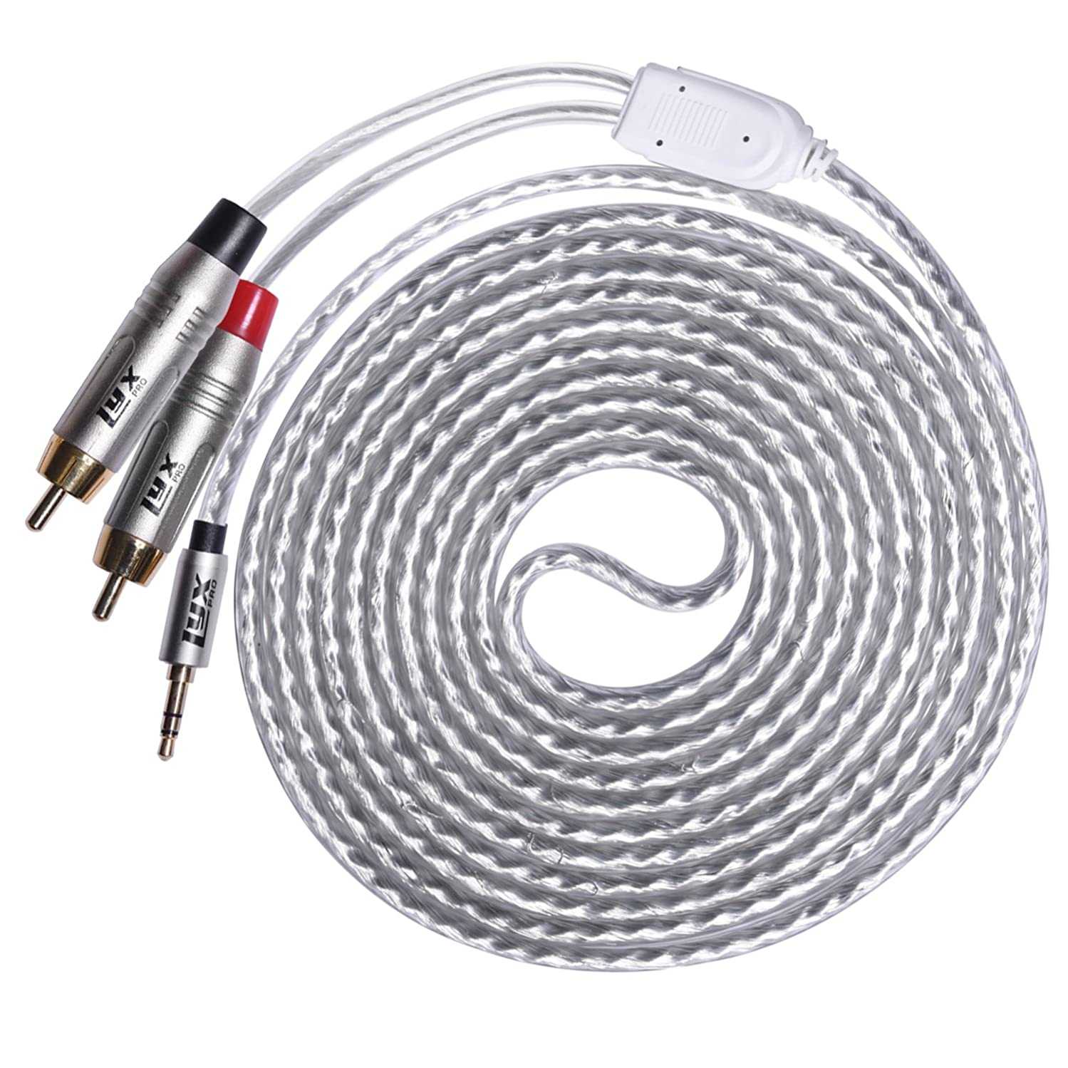 LyxPro Y-Cable Aux to RCA Male 3.5mm Male to Dual RCA Male Stereo Audio Y-Splitter Adapter Cable - 10 Feet