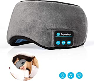 Bluetooth Sleeping Eye Mask Headphones,Lavince Travel Sleeping Headphone 4.2 Bluetooth Eye Mask Handsfree Music Sleep Eye Shades Headset Built-in Speakers Microphone Washable Gray