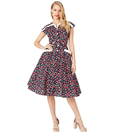 Unique Vintage 1950s Style Cap Sleeve Hedda Swing Dress (Black Watermelon Print) Women