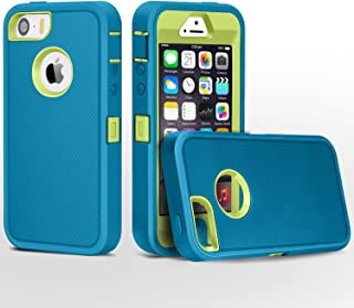 FOGEEK iPhone 5 Case, Heavy Duty PC + TPU Combo Protective Body Armor Case for iPhone 5 & iPhone 5S (not Support Fingerprint Function)(Light Blue/Green)