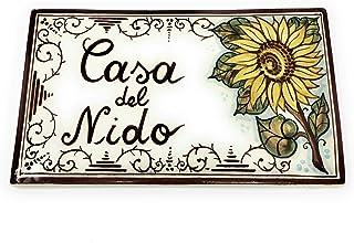 CERAMICHE D'ARTE PARRINI- Ceramica italiana artistica, numero civico in ceramica 23x13 personalizzato, decorazione girasol...
