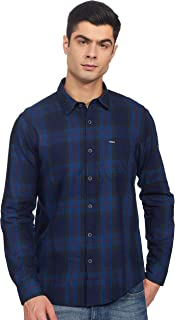 Pepe Jeans Men's Checkered Slim fit Casual Shirt (PM306268_Red M)