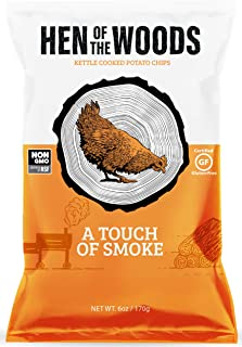 Hen of the Woods Kettle Chips | A Touch of Smoke~ 6oz (8 Count) | Healthy Snacks, Potato Chips, Non GMO, Gluten Free, Grain Free