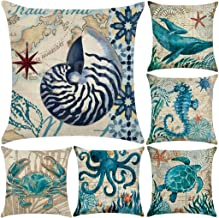 """6 Pack Cotton Linen Sea Theme Throw Pillow Case,Mediterranean Style Decorative Square Cushion Cover 18"""" x 18""""(Cover Only,N..."""