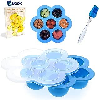 PREMIUM Silicone Egg Bites Molds - BEST Bundle - Fits Instant Pot Pressure Cooker 5, 6 Qt & 8 Quart - BONUS Accessories - Pastry Brush + eBook - Sous Vide Eggs Poacher - Freezer Tray - For Instapot