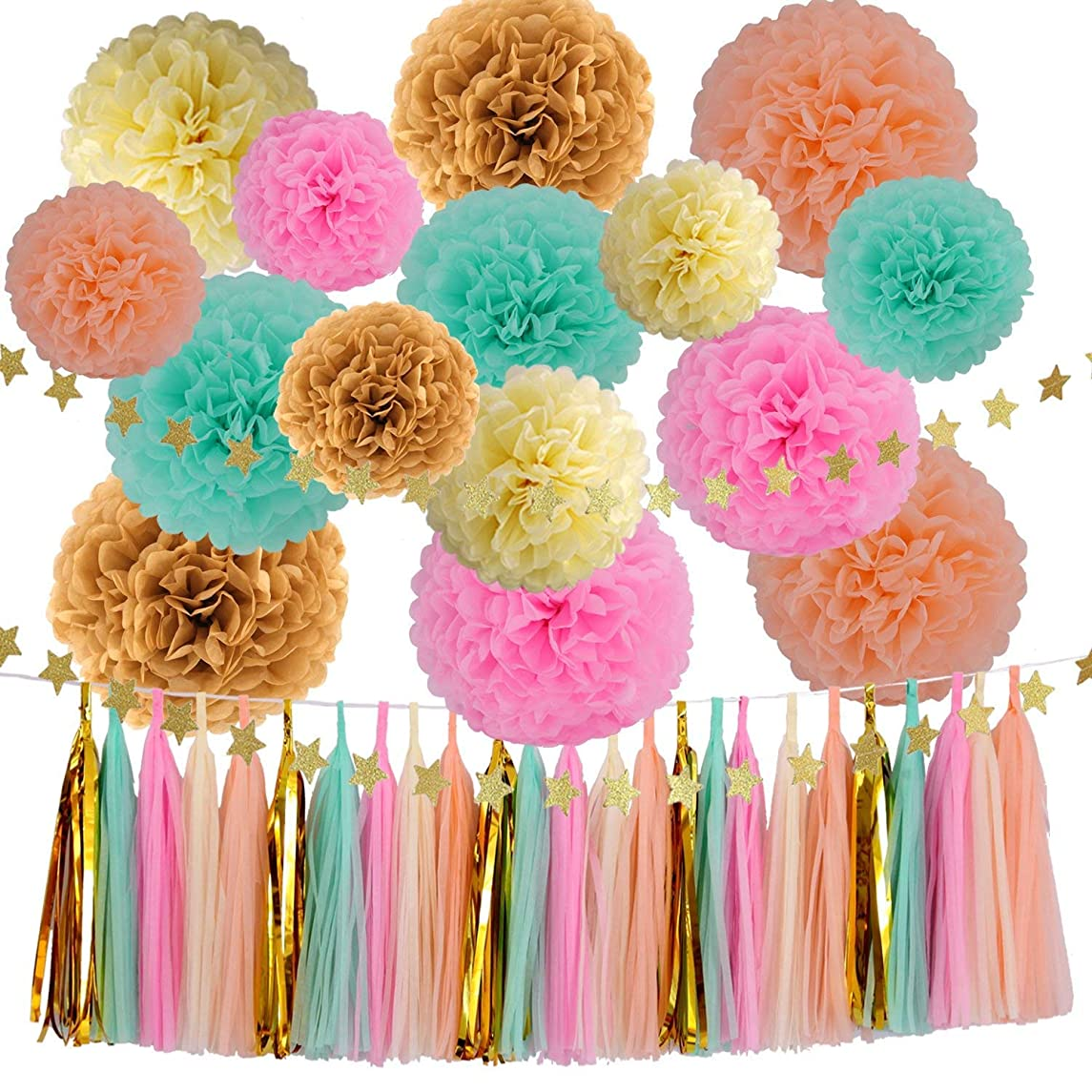 42 Pcs Party Supplies Decorations Kit,Tissue Paper Pom Poms Flower Tissue Paper Garland Kit for Baby Shower Party Wedding Birthday Decorations Room Decor