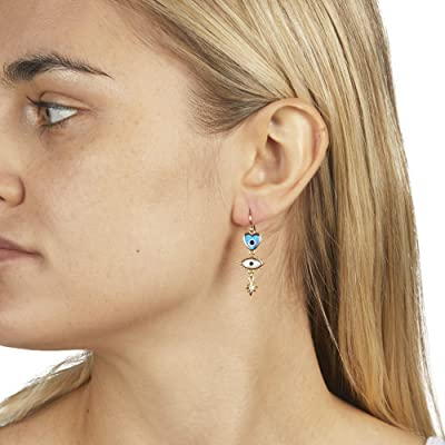 Rebecca Minkoff Mixed Charm Drop Earrings (Gold/Multi) Earring