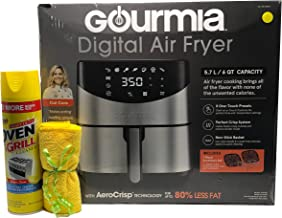 Gourmia Digital Stainless Steel 6 Qt/5.7L Digital Air Fryer With AeroCrispTM Technology for up to 80% less fat.includes No...