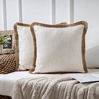 """Phantoscope Pack of 2 Farmhouse Burlap Linen Trimmed Tailored Edges Throw Pillow Case Cushion Covers with Tassel 18"""" x 18""""..."""