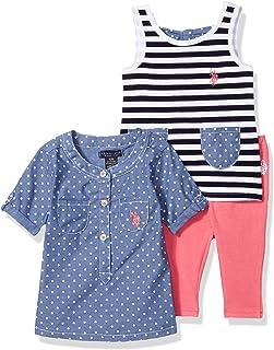 U.S. Polo Assn. Conjunto de pantalón y Parte Superior de Moda para niñas