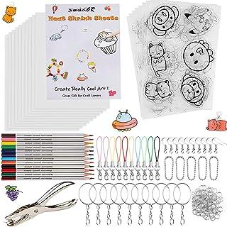 Heat Shrink Plastic Sheet Kit, 166 Pcs Shrink Art Kit Include 10Pcs Shrink Film Paper and 8 Pcs Shrinky Art Paper with Pat...