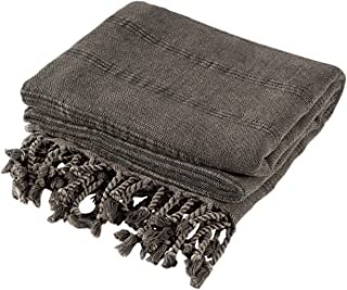 InfuseZen Stonewashed Turkish Towel, Thin Absorbent Bath Towel, Beach Towel Pool Towel, Large Cotton Stone Washed Peshtemal Towels Weaved in Turkey, Hammam Spa Towels (Faded Black Charcoal Grey)