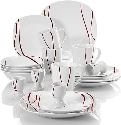 MALACASA, Serie Felisa, 20 teilig Set Porzellan Kombiservice mit 4 Flachteller, 4 Kuchenteller, 4 Müslischale, 4 Becher und 4 Eierbecher - preisvergleich